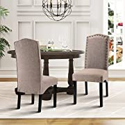 Merax Script Fabric Accent Chair Dining Room Chair with Solid Wood Legs, Set of 2 (Light Brown)