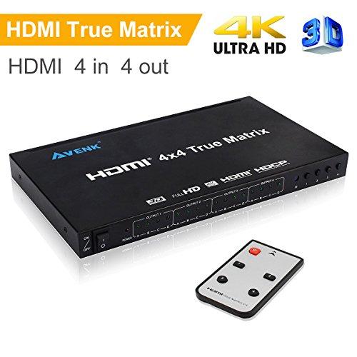 AVENK 4x4 HDMI True Matrix Switcher 4K HDMI Switch with IR Remote Control Support Ultra HD HDMI 1.4 4Kx2K 1080P 4x4 Audio Video Matrix
