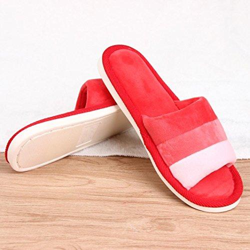 Sunfei Femmes Doux Chaud Intérieure Bonbons Couleurs Coton Pantoufles Maison Anti-dérapant Chaussures Rouge