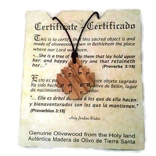 HJW Jerusalem Cross Crusaders Olivewood Pendant Necklace Certificate of Origin