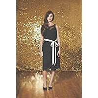 TRLYC 5ft7ft Gold Shimmer Sequin Fabric Photography Backdrop Sequin Curtain for Wedding/ Party