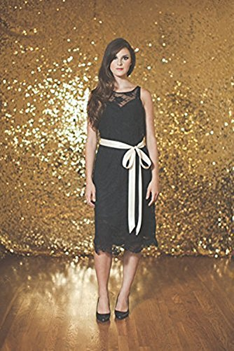 TRLYC 5ft7ft Gold Shimmer Sequin Fabric Photography Backdrop Sequin Curtain for -