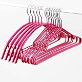 Clothes Rack Household Dip Hanger Metal Non-slip Clothes Rack No Trace Stainless Steel Hook Up Drying Pants Rack Hanging Adult Clothes (Color : Pink)