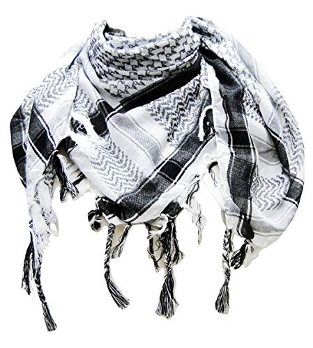 Premium Shemagh Head Neck Scarf - Black/White -