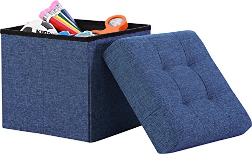 "Ellington Home Foldable Tufted Linen Storage Ottoman Cube Foot Rest Stool/Seat - 15"" x 15"" (Navy)"