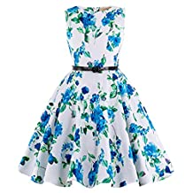 Kate Kasin Girls Sleeveless Casual Swing Dresses with Belt