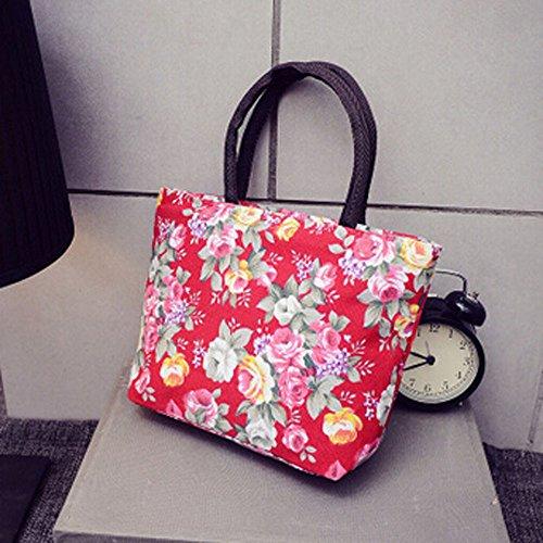 Comprador Compras Mochila Bolso Hombro Moda Rojo Bolsa Impresión Ansenesna Niñas Mujer De Bandolera Lienzo q8Z7B