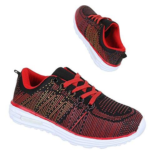 Ital-Design - Zapatillas de Material Sintético para mujer Rojo - Rot Schwarz