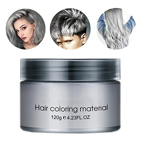 Pevor Silver Gray Hair Wax 4.23 Oz, Instant Hairstyle Mud Cream, Professional Natural Silver Ash, Fashion Hair Styling Pomades For Party, Cosplay, Nightclub, Masquerade, Halloween, Washable Temporary -