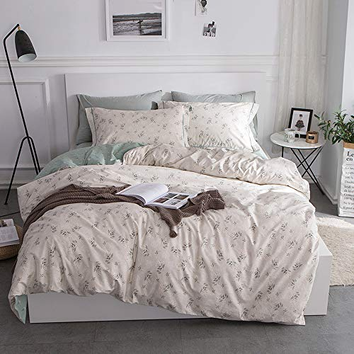 Garden Duvet Set - HIGHBUY Fresh Floral Duvet Cover Queen Cotton Bedding Set Queen Full Comforter Cover Set Reversible Garden Lightweight Soft Full Duvet Cover Set Zipper Closure Durable Breathable Queen/Full