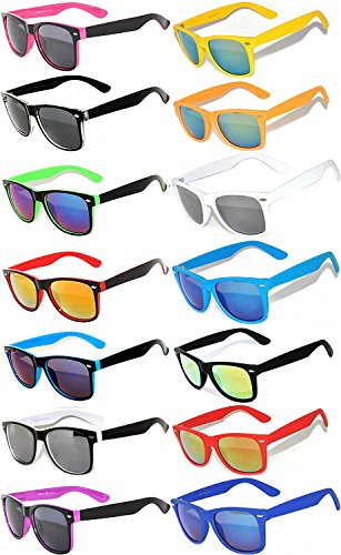 Wholesale Colored Mirrored and Smoke Lens Sunglasses 14 pairs OWL. (Sunglasses Wayfarer Plastic)