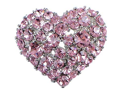 - Alilang Crystal Rhinestone Valentine Heart Love Brooch Pin, Pink