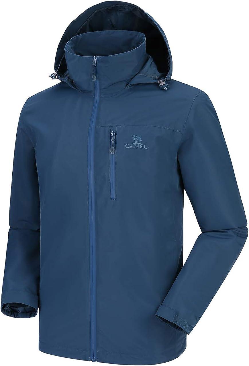 CAMEL Men's Lightweight Rain Jacket Waterproof Raincoat Windbreaker Hooded Active Outdoor Shell Jacket for Hiking Work: Clothing