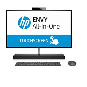 HP ENVY 27-b200ne All-in-One Desktop - Intel Core i7-8700T, 27-Inch QHD Touch, 1TB + 256GB SSD, 16GB, 4GB VGA-GeForce GTX 1050, Eng-Arb-KB, Windows 10, Black