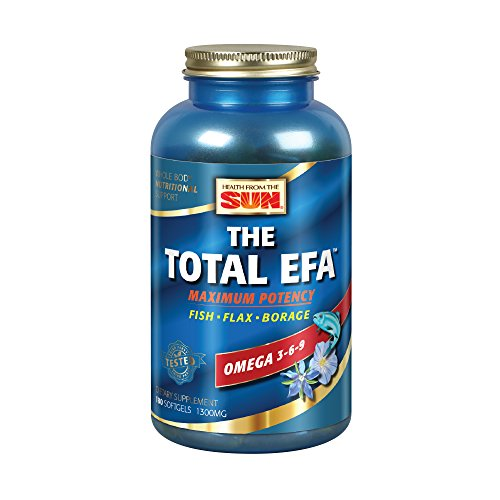 Health from the Sun® The Total EFA Maximum Potency Pure Fish Oil w/Cold Pressed Flaxseed & Borage Oil | 1200 mg | Skin, Hair, Heart, Memory | 180 ct