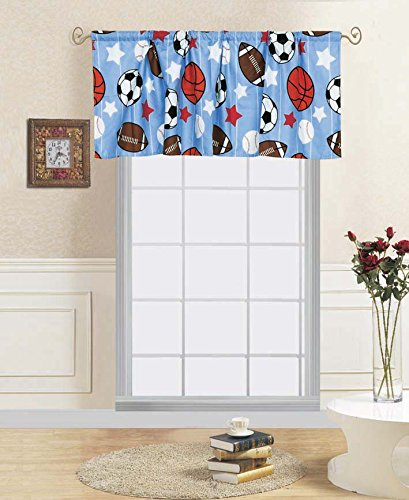 (Decotex 1 Piece Game Day Sports Kids Window Valance 55