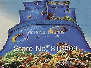 Blue ocean tropical fish 3d comforter bedding for Ocean blue fish oil
