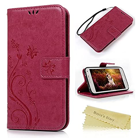 S5 Case, Galaxy S5 Wallet Case - Mavis's Diary Premium PU Leather with Fashion Floral Butterfly Pattern Magnetic Clasp Card Holders Flip Cover for Samsung Galaxy S5 I9600 with Hand Strap (Hot (Flip Cover Cases For Galaxy S5)