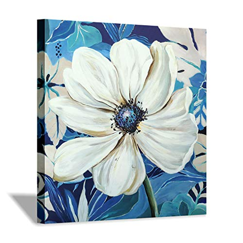 Flower Artwork Canvas Wall Art: Floral Bloom Picture Painting for Wall Decor (24''x24'')