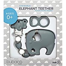 BABY TEETHING TOYS BPA FREE - Silicone Elephant Teether with Pacifier Clip Holder Set for Newborn Babies - Freezer Safe | Baby Shower Gift Idea for Stylish Little Boys and Girls - Infant Unisex Chew