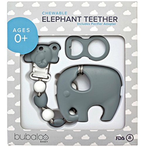 BABY TEETHING TOYS BPA FREE - Silicone Elephant Teether with Pacifier Clip Holder Set for Newborn Babies - Freezer Safe | Baby Shower Gift Idea for Stylish Little Boys and Girls - Infant Unisex Chew -