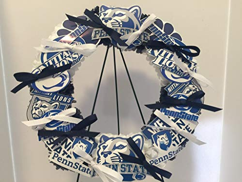 - COLLEGE PRIDE - SPIRIT - PSU - PENNSYLVANIA STATE UNIVERSITY 2 - PENN STATE - PENN - NITTANY LION - DORM DECOR - DORM ROOM - COLLECTOR WREATH - BLUE & WHITE CARNATIONS