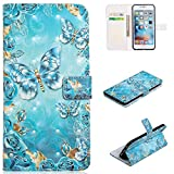 for iPhone 7/8 Wallet Case and Screen Protector,QFFUN Glitter 3D Pattern Design [Blue Butterfly] Magnetic Stand Leather Phone Case with Card Holder Drop Protection Etui Bumper Flip Cover