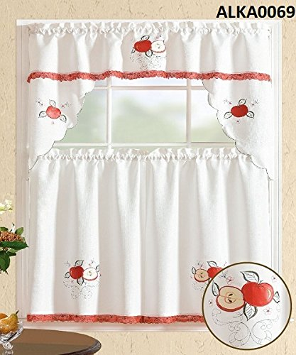 Comfy Deal 3 Pieces White with Embroidery Red Apple Kitchen/Cafe Curtain Tier and Swag Set (White With Apple)