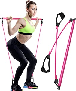 Janie and Josh Pilates Bar Pilates Bar with Resistance Bands, Solid Iron Bar and Latex Bands, Premium Home Workout Equipment for Yoga, Stretching and Twisting