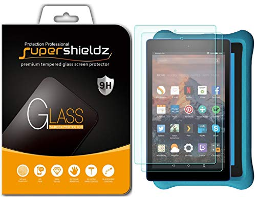 (2 Pack) Supershieldz for All New Fire HD 8 and Fire HD 8 Kids Edition Tablet (2018 and 2017 Release) Tempered Glass Screen Protector Anti Scratch, Bubble Free