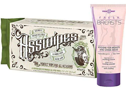 Fresh Breasts 3.4 oz and ASSWIPES Ladies Fresh Pack! Antiperspirant Bundle with Flushable Cleaning Hygiene Wipes with Aloe and Vitamin E! Wipes are Alcohol and Fragrance Free for Sensitive Skin!