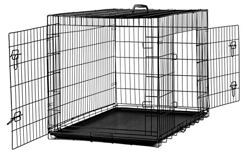 42'' Dog Crate 2 Door w/Divide w/Tray Fold Metal Pet Cage Kennel House for Animal by BestPet (Image #2)