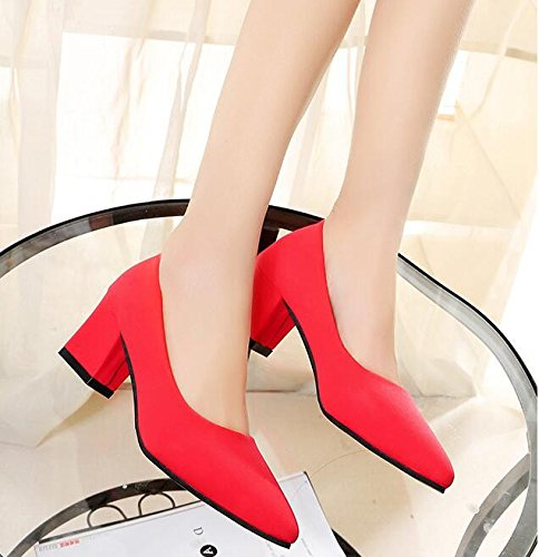 KHSKX-Thick Heel Shoes Sharp Suede Heels Shallowly Heel Shoes Bridesmaid Marriage Thirty-nine 4sqATN