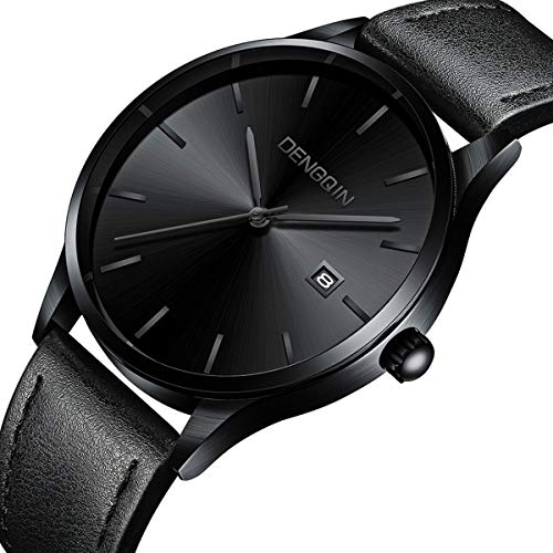 Men's Wrist Watch - Leather Classic Watches - Quartz Business Stainless Steel Analog Ultrathin Watch for Gentlemen Black
