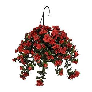 House of Silk Flowers Artificial Red Azalea Hanging Basket 84