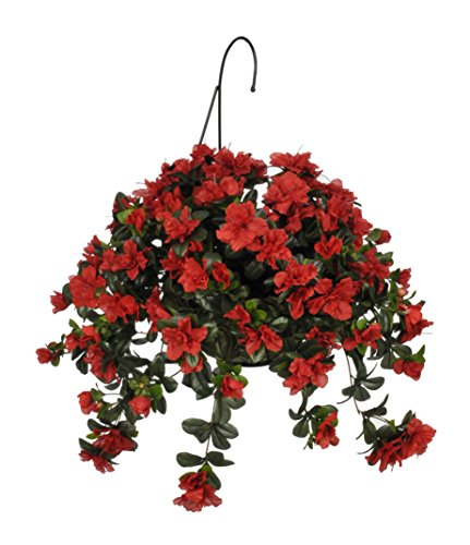 House of Silk Flowers Artificial Red Azalea Hanging Basket