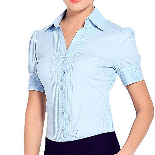 Women Shirt Career Soojun Blue Style Button Blouse Short s Down Sleeve 1 Bodysuit d00Cf