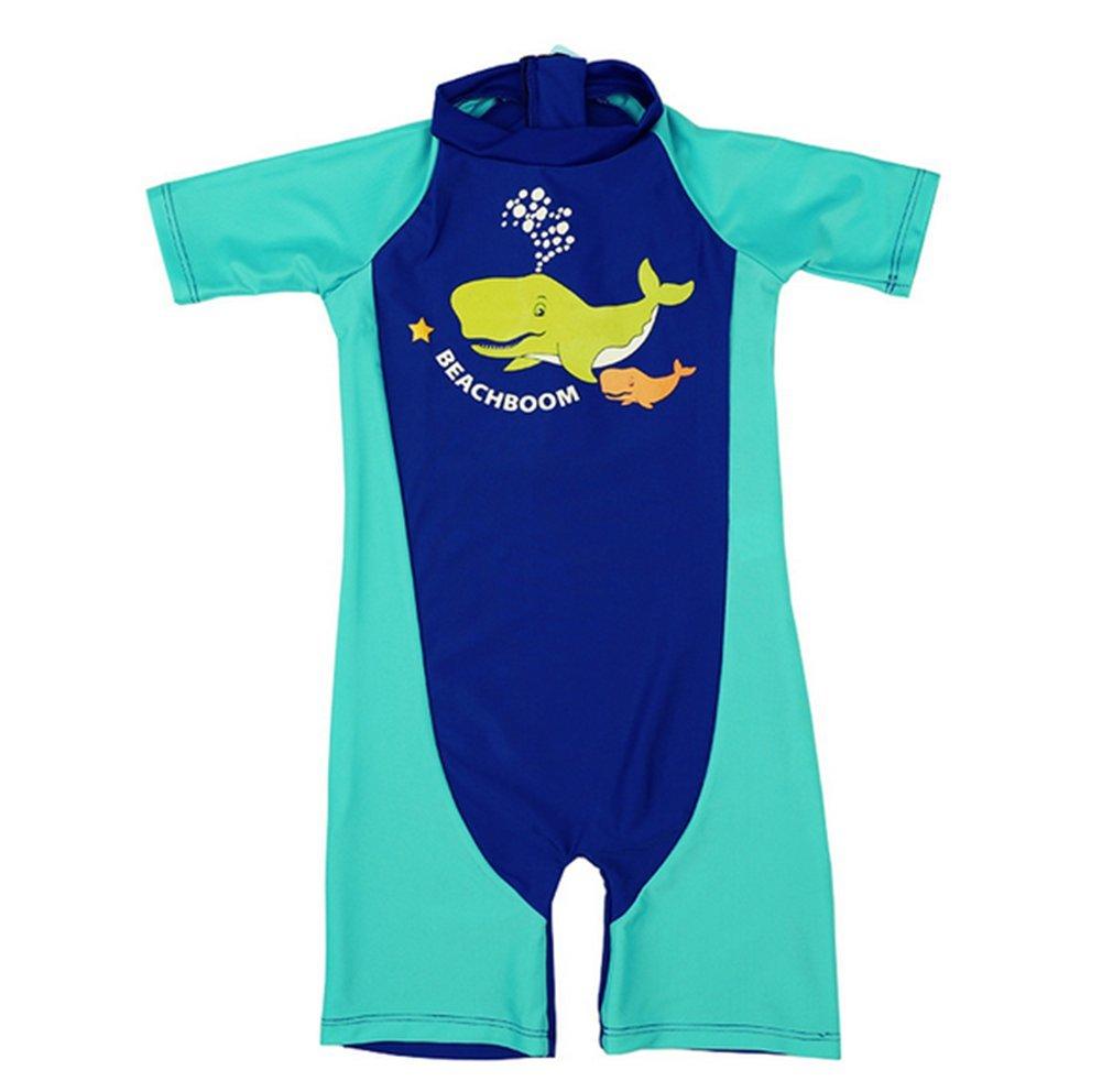 Monvecle Boys' 2-Piece Short Sleeve Rashguard Swimming Tee Trunk Set Sunsuit UPF 50+