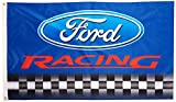 Cheap FORD RACING FLAG, 3'x5′ Blue w/ Black & White Checkerboard banner