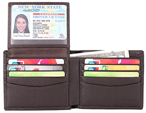 Mens Genuine Leather Bifold Wallet with 2 ID Window and RFID Blocking - Natural Grain Coffee ()
