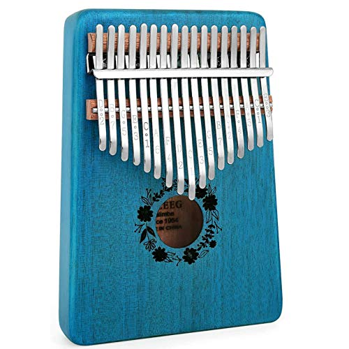 AUZEEG Kalimba 17 Keys, Portable Mbira Thumb Piano African Mahogany Wood Finger Musical Instrument with Study Instruction and Tune Hammer, Gifts for Kids Adults Beginners Professionals