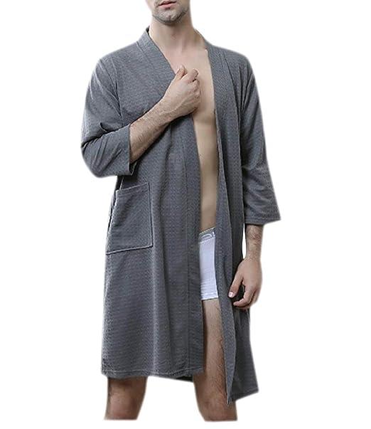 Comaba Mens Pajamas Soft Solid Color Home Sleepwear Bathrobe ...