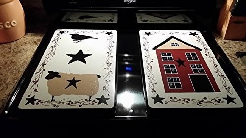 Primitive Country Sheep, Salt Box House, Crow Stove Burner Covers Set by Primitive Country Loft House