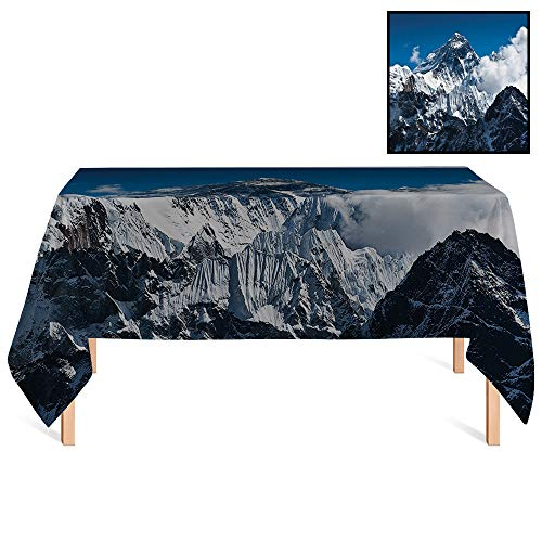 SATVSHOP Dust-Proof Table Cover /55x86 Rectangular,Lake House Everest Peak Landscape Clouds on Wild Snowy Summit Nobody in Nature Theme Blue White.for - Everest Christmas Tree