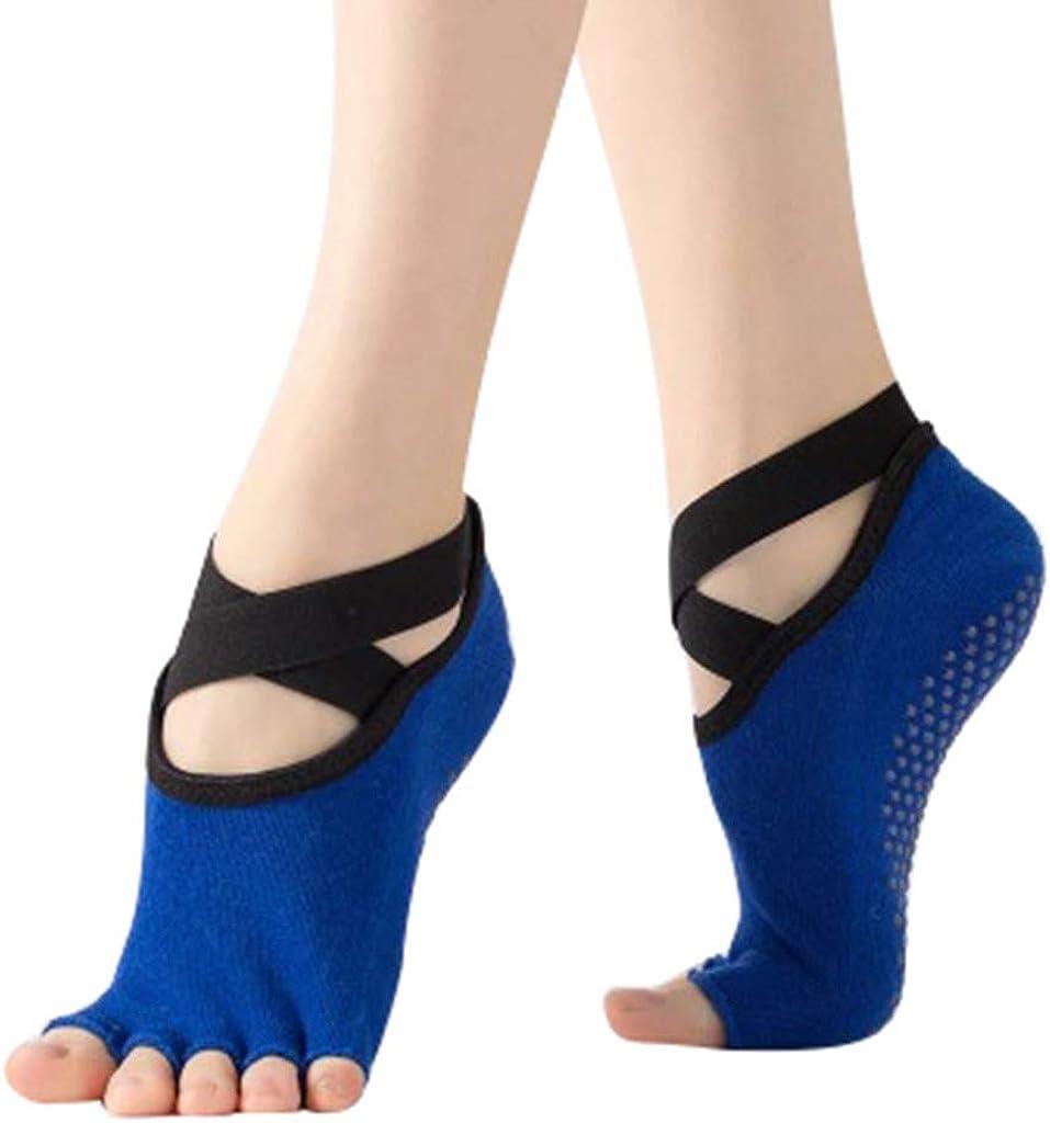 ITCHIC Calze yoga per donna e calze antiscivolo senza punta per la danza classica Calze da yoga a cinque punte aperte sul retro calzini da pavimento antiscivolo per calze a cinque dita calzini da yoga