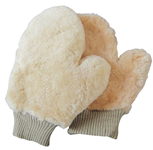 J-Bless Car Wash Mitt Real Lambswool Sheepskin Wax Wash Glove Ultra-soft Scratch and Lint Free for Auto Car Beige 2 pack