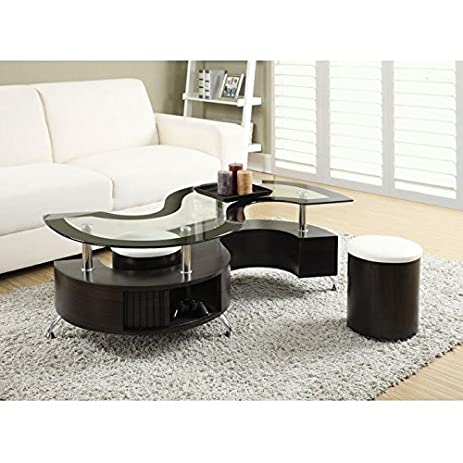 Amazoncom Coaster Coffee Table with Stools in Cappuccino