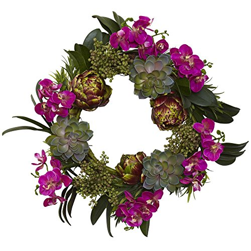 Nearly Natural 20 in. Orchid, Artichoke & Succulent Wreath (Nearly Natural Silk Artichoke)