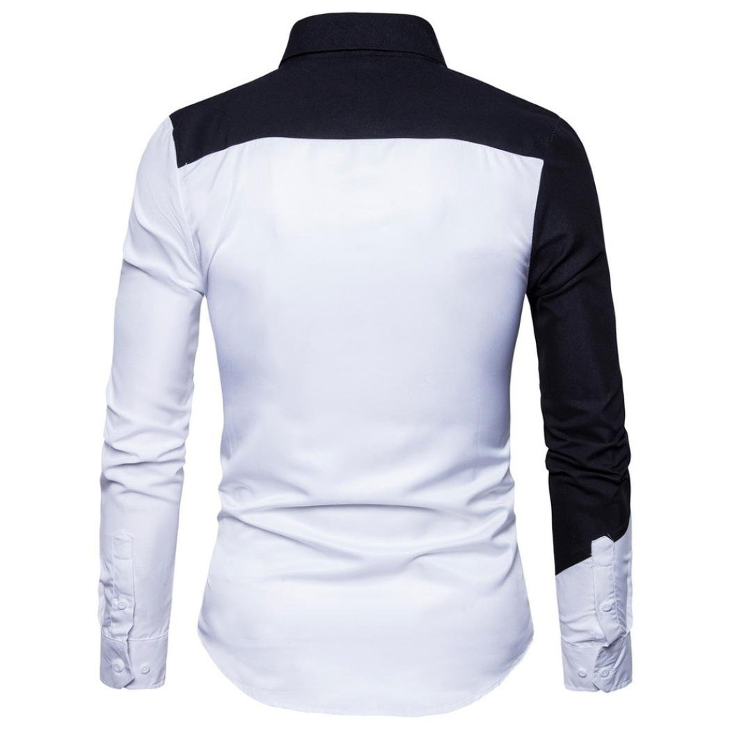 JOFOW Mens Casual Long Sleeve Shirts Cotton Block Patchwork Fit Oxford Blouses Tops
