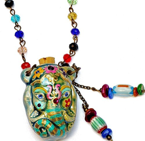 Boho Indian Elephant Necklace with Swarovski Crystal Rhinestones and Dangling Beads (Medallion Colored Bead Necklace)
